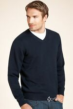 MENS BLACK PURE COTTON V NECK JUMPER FROM MARKS AND SPENCER SIZE L TO XXL BNWT