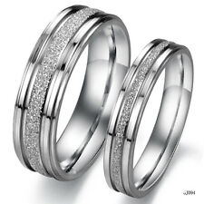 STAINLESS STEEL SILVER LOVER COUPLE PROMISE RINGS US SIZE 5 6 7 8 9 10 11 12