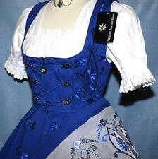3-Piece LONG BLUE DIRNDL German Wear Bavarian Garden Sun Party Oktoberfest Dress