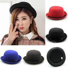 Hot Fashion Ladies Vogue Women Vintage Wool Cute Trendy Solid Bowler Derby Hat
