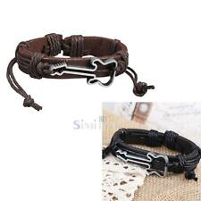 Mens Women Wrap Multilayer Guitar Leather Bracelet Braided Rope Fashion Jewelry