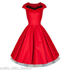 PRETTY KITTY ROCKABILLY 50s VTG RED BLACK COCKTAIL SWING PROM PARTY DRESS 8-18