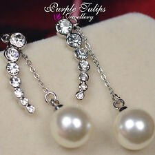 18CT Rose/White Gold GP Line Pearl Dangle Earrings Made With Swarovski Crystals