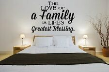 'The Love of a Family is Life's Greatest Blessing' - Large Wall Sticker. New!