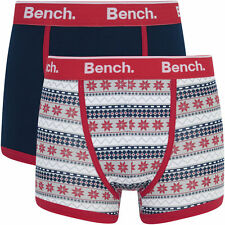 Bench Men's 2 Pack Fairisle Fashion Trunks / Boxers - Navy/Red - Size S-XL - DD4
