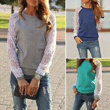 New Womens Lace Patchwork Blouse Hoodie Sweatshirt Sweater Casual Pullover Tops
