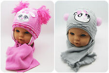 NEW Cute Kids Baby Girls Hat Knitted Autumn Winter Hooded Cap with Scarf Tie up
