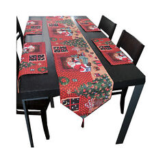 Christmas Party Table Runner Cloth Tapestry Placemats Mr Sants Gift Give Away