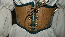 Steampunk Victorian Pirate Renaissance Boot Lace Cincher in GOLD & PEACOCK BLUE