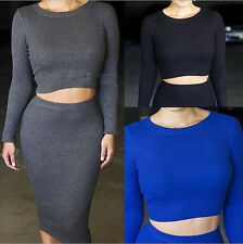 KF645 Slim tricolor Long Sleeve Europe and America 2 pc sets Tight skirt