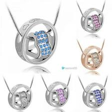 Heart Ring Crystal Rhinestone Necklace Pendant Love Gift For Wife Daughter TR