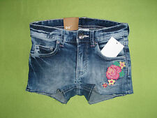 H&m &Denim Girl Jeans Shorts Trousers Pants in Frayed Look With Flowers