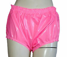 PVC Plastic Pants Panties Knickers 4 Siz Vinyl Waterproof Shiny Pink Adult Baby
