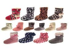 Womens Slipper Boots Knitted Fur Fleece Booties Girls Ladies Slippers Size 3 - 8