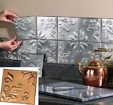 Metal Tin Silver Copper Peel and Stick Kitchen Backsplash Bathroom Wall Tiles