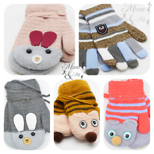 Winter Baby Toddlers Mittens On String Knitted Warm Boys Girls Unisex