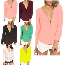 New V-neck Sexy Womens Chiffon Tops Long Sleeve Shirt Casual Blouse T-shirts Hot
