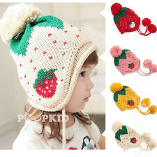 Cute Baby Infant Girls Toddler Winter Warm Knitted Crochet Strawberry Hat Cap AU