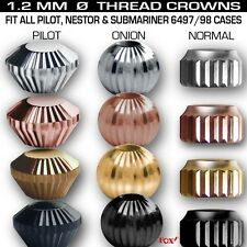 CROWNS, FIT ALL OUR UNITAS CASES, SHAPE: ONION, NORMAL, PILOT, STAINLESS STEEL