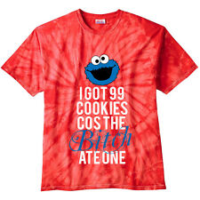 Unisex Cookie Monster 99 Problems Tie Dye T-Shirt | Xmas Gift Present - Red