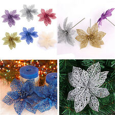 1 PCS Christmas Glitter Hollow Flowers Xmas Tree Decoration Party Wedding Decor