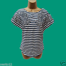 Next Navy Ivory Striped Jersey With Applique Flower Trim Top T-shirt  all sizes