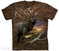 THE MOUNTAIN ELK AT DUSK WILD ANIMAL WOODS SUNSET TREE SCENE T TEE SHIRT S-5XL