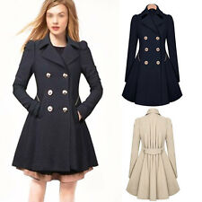 Fashion Womens Double-breasted Coat long outwear Slim Fit Trench Free Shipping