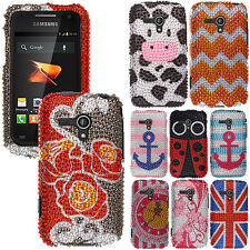 For Samsung Galaxy Rush M830 Boost Mobile Bling Diamond Gem Hard Case Cover