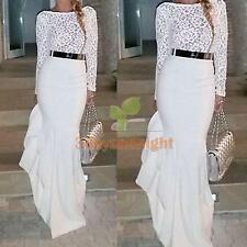 Women Sexy Lace Long Sleeve Prom Ball Cocktail Party Formal Evening Gown Dress