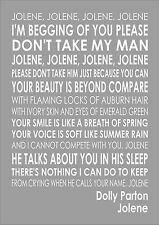 Dolly Parton -  Jolene - Word Wall Art Typography Song Lyrics Lyric Verse
