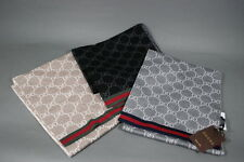 Gucci GG Wool Scarf Solange Web Black Gray Beige Reversible NWT
