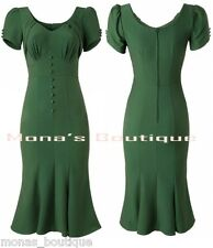 MONA'S BOUTIQUE GREEN DRESS 40'S 50'S VINTAGE RETRO ROCKABILLY 8 - 22