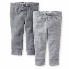 NEW Carter's 2 Pack  Gray Thermal & Gray White Striped Pants NWT 12m 18m 24m