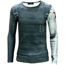 Cool Men Captain America II The Winter Soldier Printing Long Sleeve T- Shirt