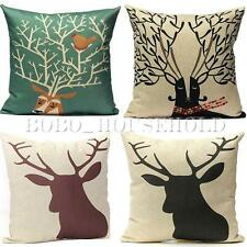 Vintage Deer Elk Animal Cotton Linen Cushion Cover Pillow Case Home Decoration