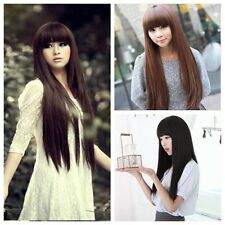 Fashion Womens Girls Long Straight Full Hair Cosplay Party Wigs Brown/Black+Cap
