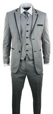 Mens Light Grey 3 Piece Suit Charcoal Trim Prom Wedding Waistcoat Blazer Trouser