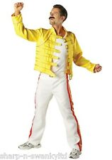 Mens 1980s 80s Deluxe Freddie Mercury Queen Celebrity Fancy Dress Costume Outfit