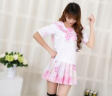Pink Sakura Cheery Seaman School Sailor Student Uniform Dresses Lolita Girls