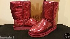 UGG Australia Classic Short Sparkles Women's Sangria Red #3598 Sizes 6 US