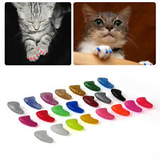 20pcs Durable New Pet Cat Dog Nail Claw Paws Caps Adhesive Glue Cover Protector