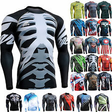 FiXGEAR mens womens body compression Top under base layer shirts print top S~4XL