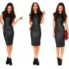 Women's Sexy Faux Leather Bodycon Sheath Clubwear Party Cocktail Evening Dress