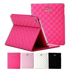 Luxury Crown Grid Soft Leather Smart Case Cover For iPad 2 3 4 5 Air 2 Mini XHF