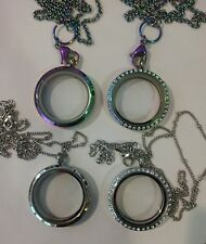 Rainbow Floating Living Locket Matching Chain!! Charm Stainless Steel Dangles