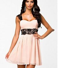 Sexy Women Sleeveless Pink Chiffon Lace Party Cocktail Dress S M L XL