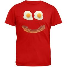 Mr. Happy Smiley Face Bacon And Eggs Red Adult T-Shirt