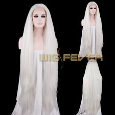 """18""""-39"""" Long Straight White Blonde Grey Blue Brown Pink Lace Front Synthetic Wig"""