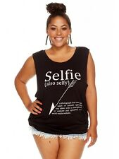 Womens Ladies Plus Size SELFIE TANK TOP FREE Shipping Casual Trendy